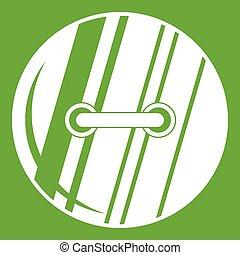 Round sewn button icon green - Round sewn button icon white...