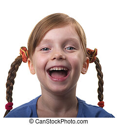 Funny girl - Funny smiling little girl portrait isolated...