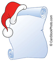 Christmas scroll with hat 1 - vector illustration.