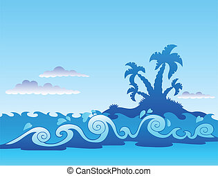 Seascape with palm island and waves
