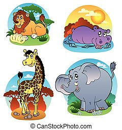 Various tropical animals 1 - vector illustration.