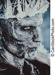 snowy zombie halloween - Close-up portrait of The King...