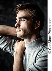 mens health and beauty - Close-up portrait of a handsome...