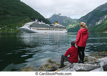 Cruise ship in the waters of Geirangerfjord, Norway - Loving...
