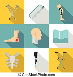 Orthopedic disease icon set, flat style - Orthopedic disease...