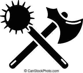Medieval axe and mace icon, simple style - Medieval axe and...