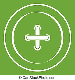 Sewing button icon green - Sewing button icon white isolated...