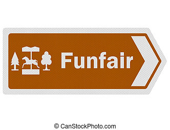 Tourist information series: photo-realistic 'funfair' sign