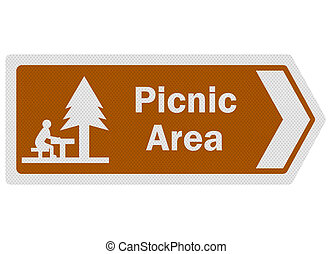 Tourist information series: photo-realistic picnic area sign...