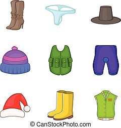 Modern clothes icon set, cartoon style - Modern clothes icon...
