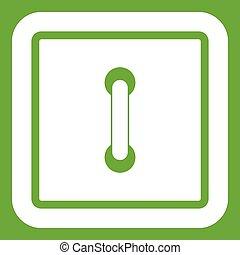 Sewn square button icon green - Sewn square button icon...
