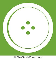 Round sewing button icon green - Round sewing button icon...