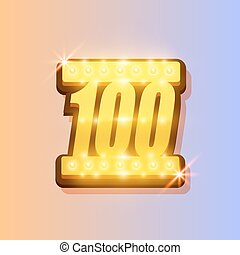 Award number 100 banner, gold object on the color...