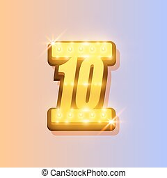 Award number 10 banner, gold object on the color background....