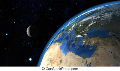 Beautiful Earth with the Moon in th
