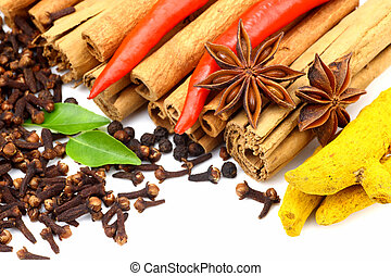 Mixed flavoring spices on white background