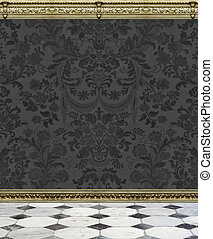 Dark Damask Wall and Marble Floor