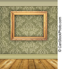 Green Damask Wall With Empty Picture Frame