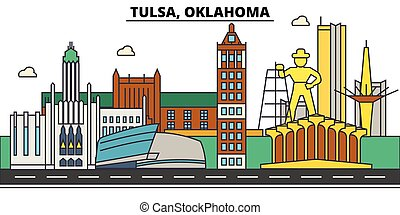 Tulsa,Oklahoma. City skyline architecture, buildings, streets, silhouette, landscape, panorama, landmarks. Editable strokes. Flat design line vector illustration concept. Isolated icons
