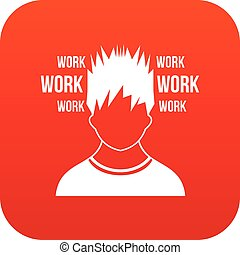 Man and work words icon digital red