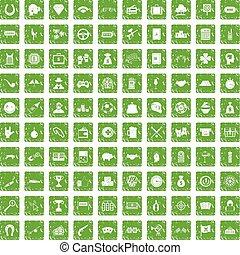 100 gambling icons set grunge green - 100 gambling icons set...