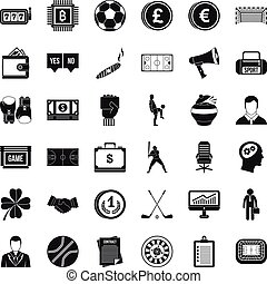 Lottery icons set, simple style - Lottery icons set. Simple...