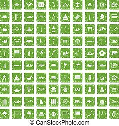 100 asian icons set grunge green - 100 asian icons set in...