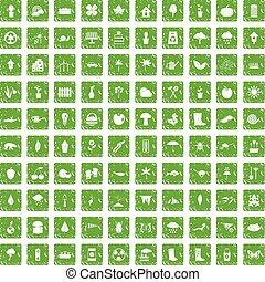 100 garden stuff icons set grunge green - 100 garden stuff...