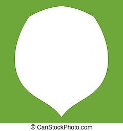 Hazelnut icon green - Hazelnut icon white isolated on green...