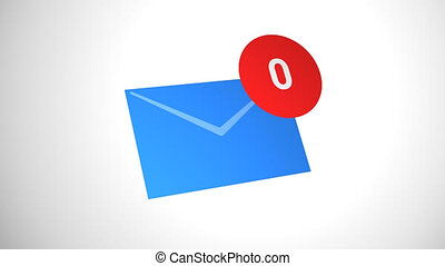 Email icon with counter on white background - Email symbol...