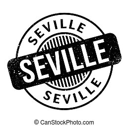 Seville rubber stamp. Grunge design with dust scratches....