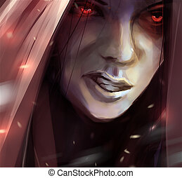 Woman angry face in hood illustration. - Illustration of a...