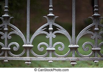 Wrought iron fence - Vintage wrought iron fence around a...