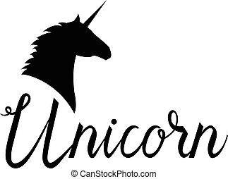 Unicorn head mythical horse in silhouette. Unicorn with...