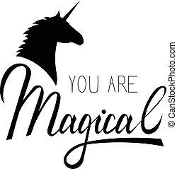 Unicorn mythical horse - You my unicorn inscription brush....