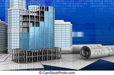 3d of modern building frame - 3d illustration of modern...
