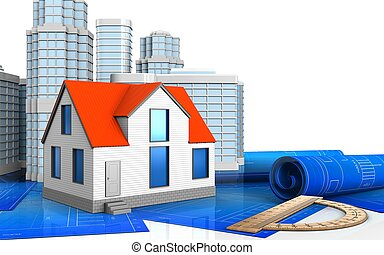3d of generic house - 3d illustration of generic house with...