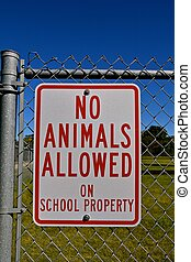 Sign forbidding animals in a school zone - Metal sign on...