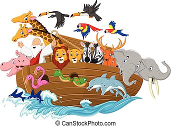 Cartoon Noah's ark - Vector illustration of Cartoon Noah's...