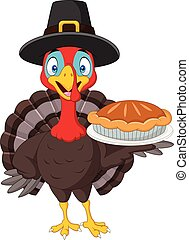 Happy thanksgiving card with turkey holding pie