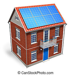 House with solar batteries on the r