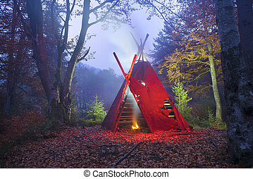 wigwam tipi and bonfire - The traditional national dwelling...