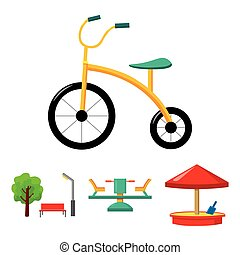 Carousel, sandbox, park, tricycle. Playground set collection...