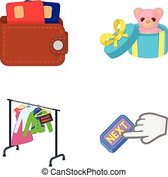 Purse with credit cards and other web icon in cartoon style....