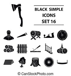 Sawmil and timber set icons in black style. Big collection...