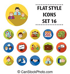 Conference and negetiations set icons in flat style. Big...