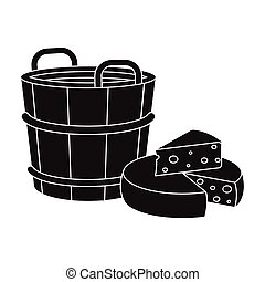 ?heese, single icon in black style.?heese, vector symbol...