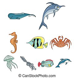 Marine and river inhabitants. Fish, whales, octopuses.Sea...