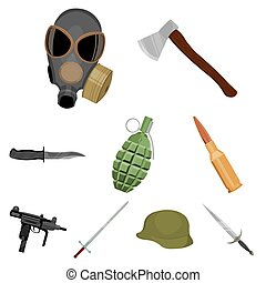 Weapon set icons in cartoon style. Big collection of weapon...