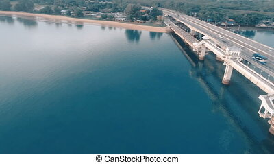 Aerial view of beautiful sea and bridge - Aerial drone view...